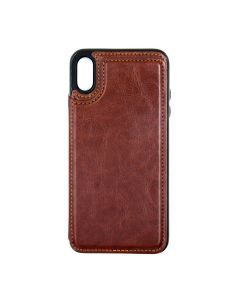 Fitted Leather Case For iPhone XR Brown